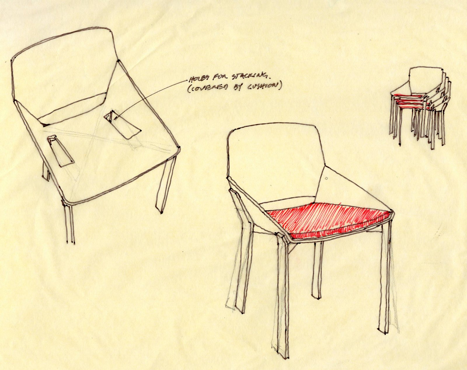 After Chris and Nick decided on a plan for the line, they started by approaching the pieces that they already had ideas about. Some came from Chris, some from Nick, and others came as a result of mutual discussions. They then began the process of editing in sketch form. Their sketch for the Dining Chair is shown here.  Photo 3 of 15 in Deam + Dine Reveal Their Design Process Behind Modern by Dwell Magazine For Target
