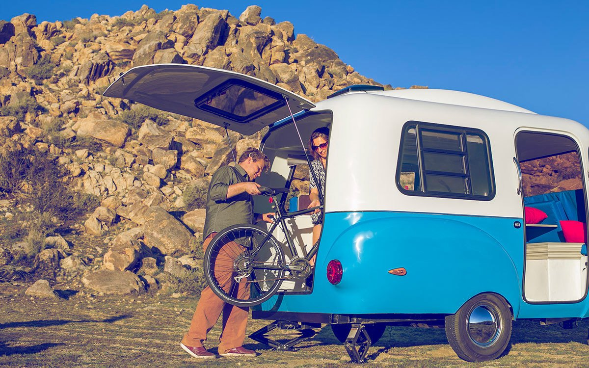 Exterior and Camper Building Type A large rear hatch allows you wheel in your bicycle, motorcycle, or rafting gear.  Photo 7 of 8 in This California–Made Camper Is All You Need to Get Your Adventures Going
