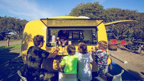 Happier camper adventure trailer yellow