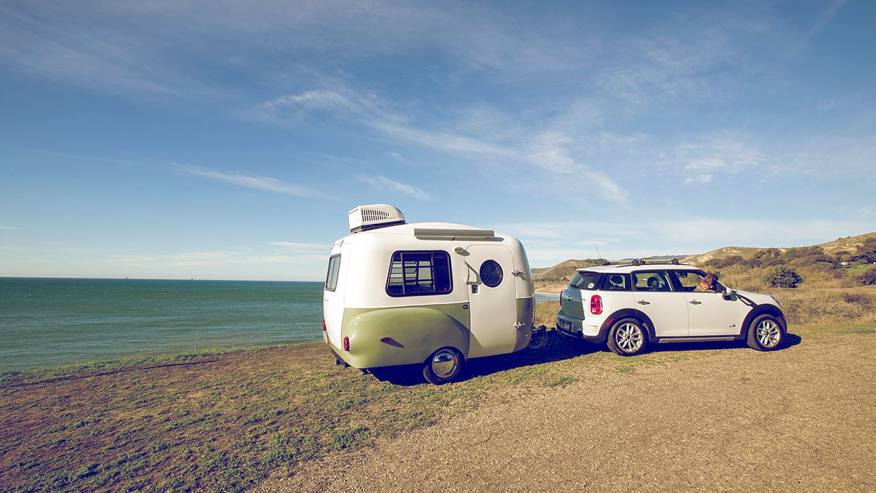 Happier camper adventure trailer green and white