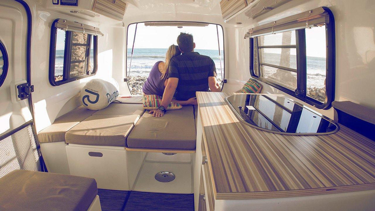 Happier camper adventure trailer interior white