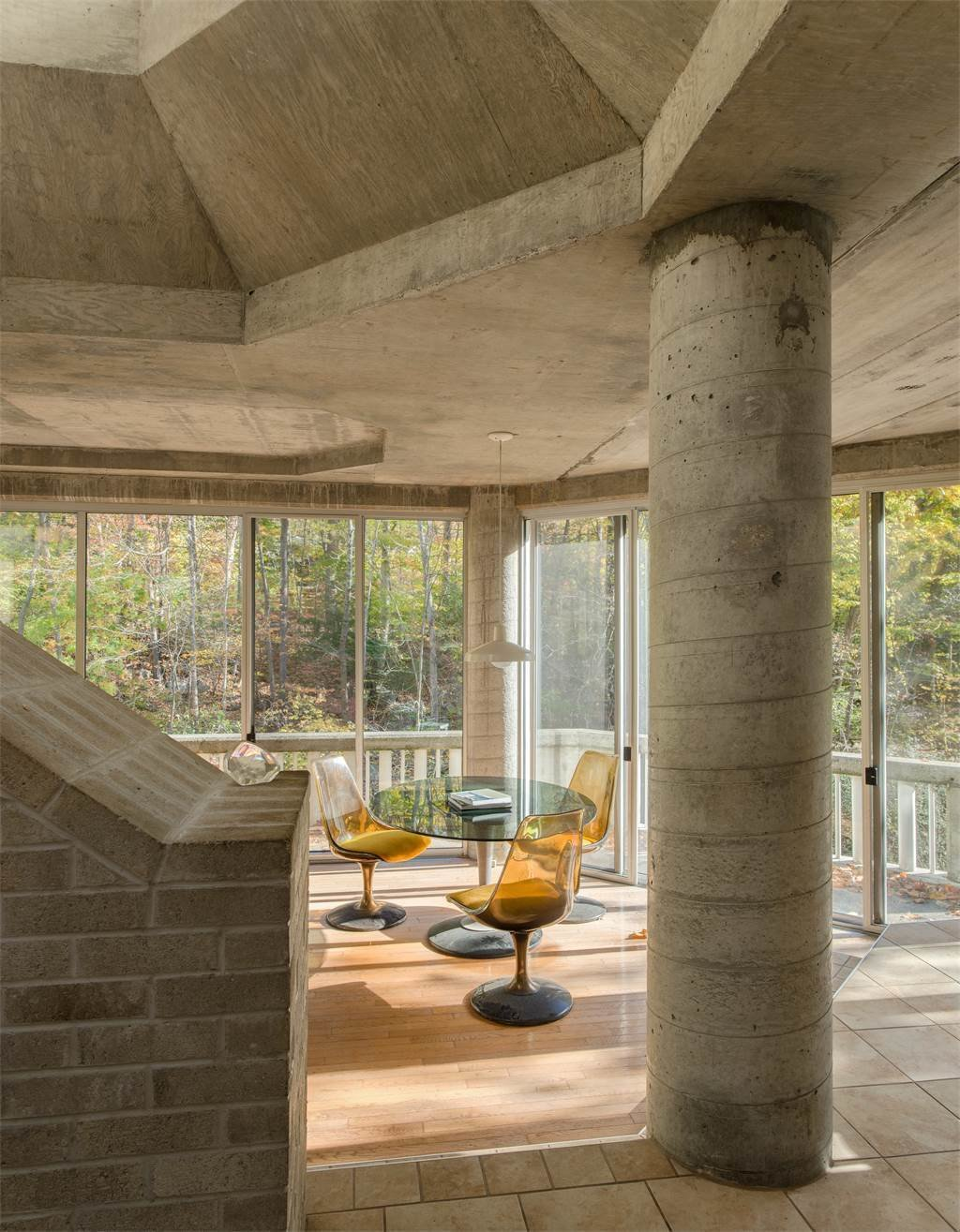 Pillars and other raw construction elements are exposed throughout the space.  Photo 9 of 11 in The One-of-a-Kind Home of the Late Architect John Black Lee Drops to $750K