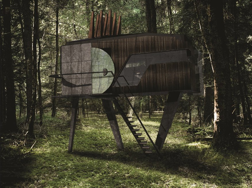 Francis and Arnett's  Cabin in the Woods  Photo 8 of 9 in A Design Competition Unveils a Pop-Up Hotel Concept That's Soon to Hit the Welsh Countryside