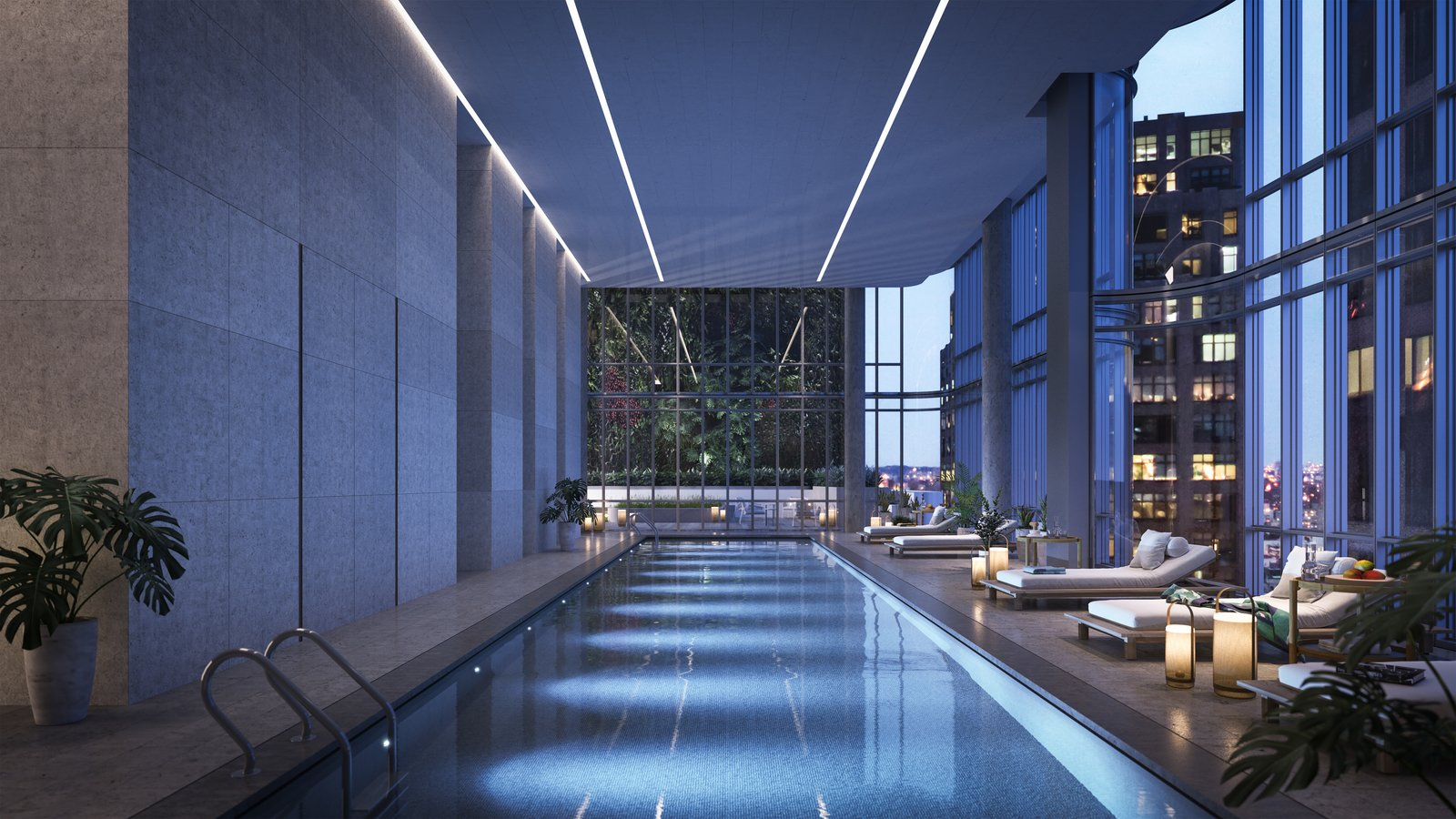 A 55-foot saltwater lap pool can be found inside the residences, along with 17,000 square feet of other amenities including a fitness center, yoga studio, media room, outdoor terrace, children's playroom, and sauna and steam room facilities.  Photo 8 of 9 in Renzo Piano Building Workshop Brings a New Residential Destination to Soho