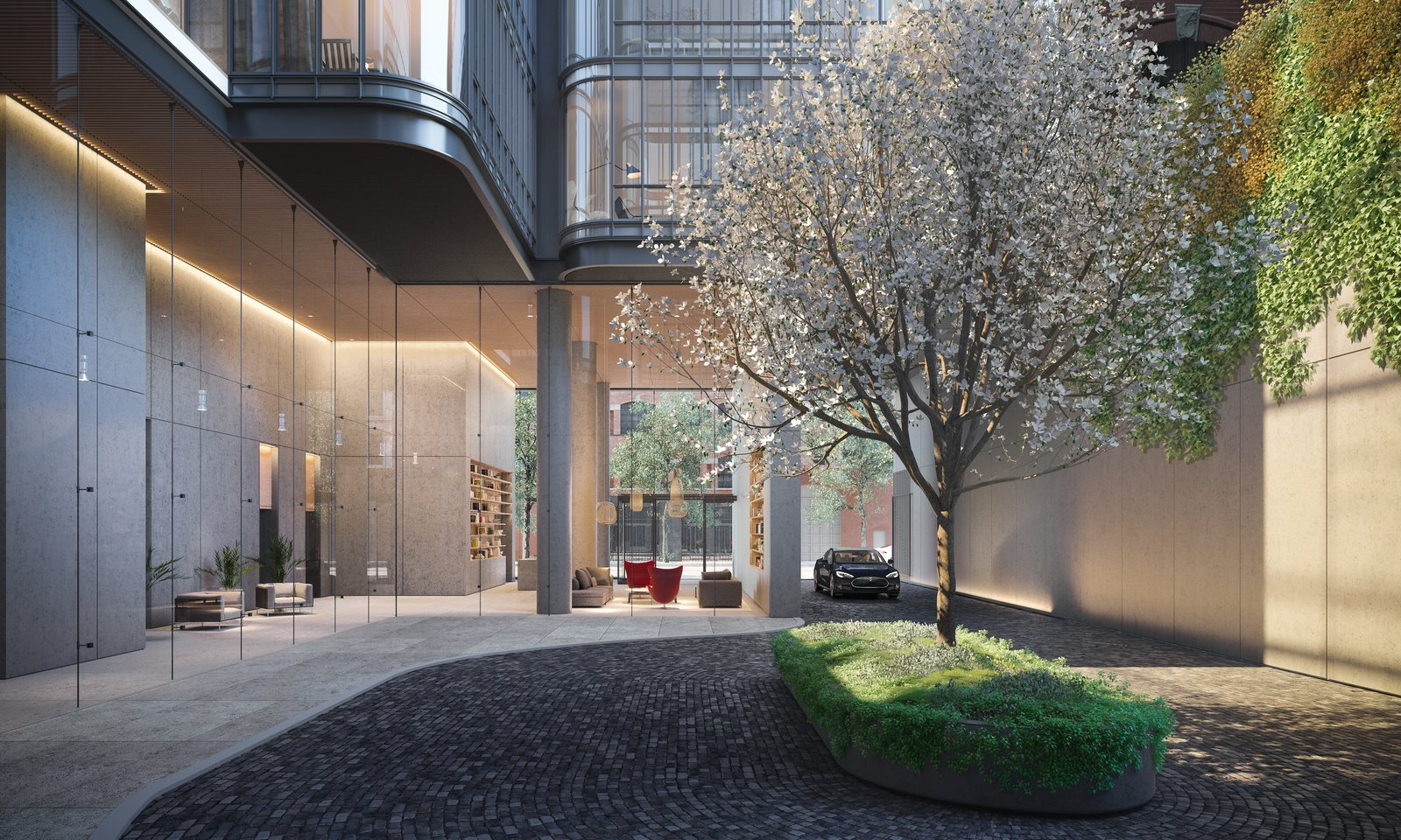 The double-height lobby sits off the gated motor court and hosts a 24/7 concierge.  Photo 4 of 9 in Renzo Piano Building Workshop Brings a New Residential Destination to Soho
