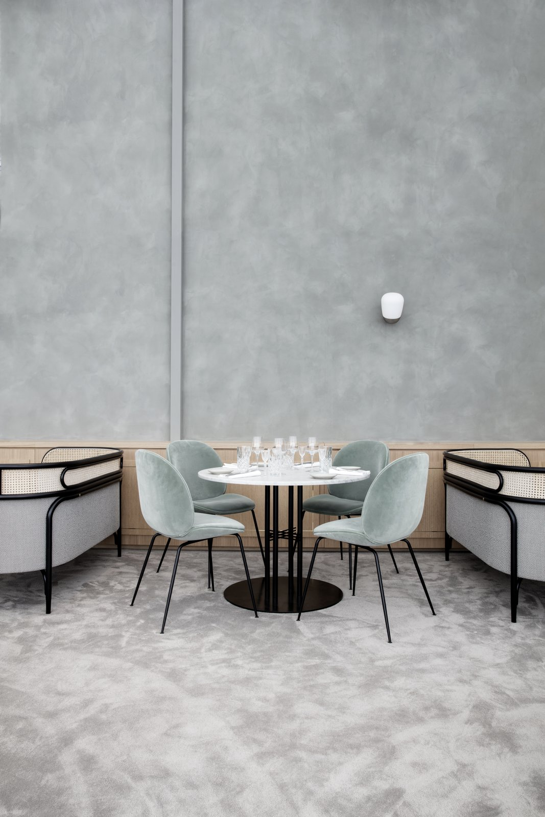 Also featured in Flora Danica is one of GamFratesi's newest launches for GUBI, the TS Dining Table.  Photo 7 of 10 in The Revived Maison du Danemark Brings Two New Danish Restaurants to Paris