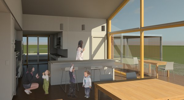 They also planned to build a deck that would host outdoor dining tables that would connect the house more to the community. A carport was also installed to the right of this area.  Photo 5 of 9 in The Winning Vision From a Universal Design Competition Is Brought to Life For a Veteran
