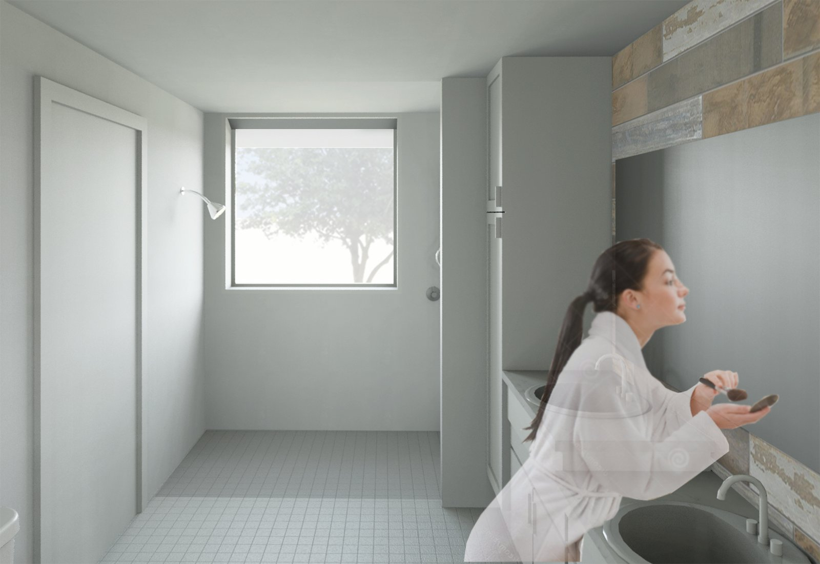 The bathroom was designed with an open layout to provide enough space for someone in a wheelchair to operate comfortably.  Photo 8 of 9 in The Winning Vision From a Universal Design Competition Is Brought to Life For a Veteran
