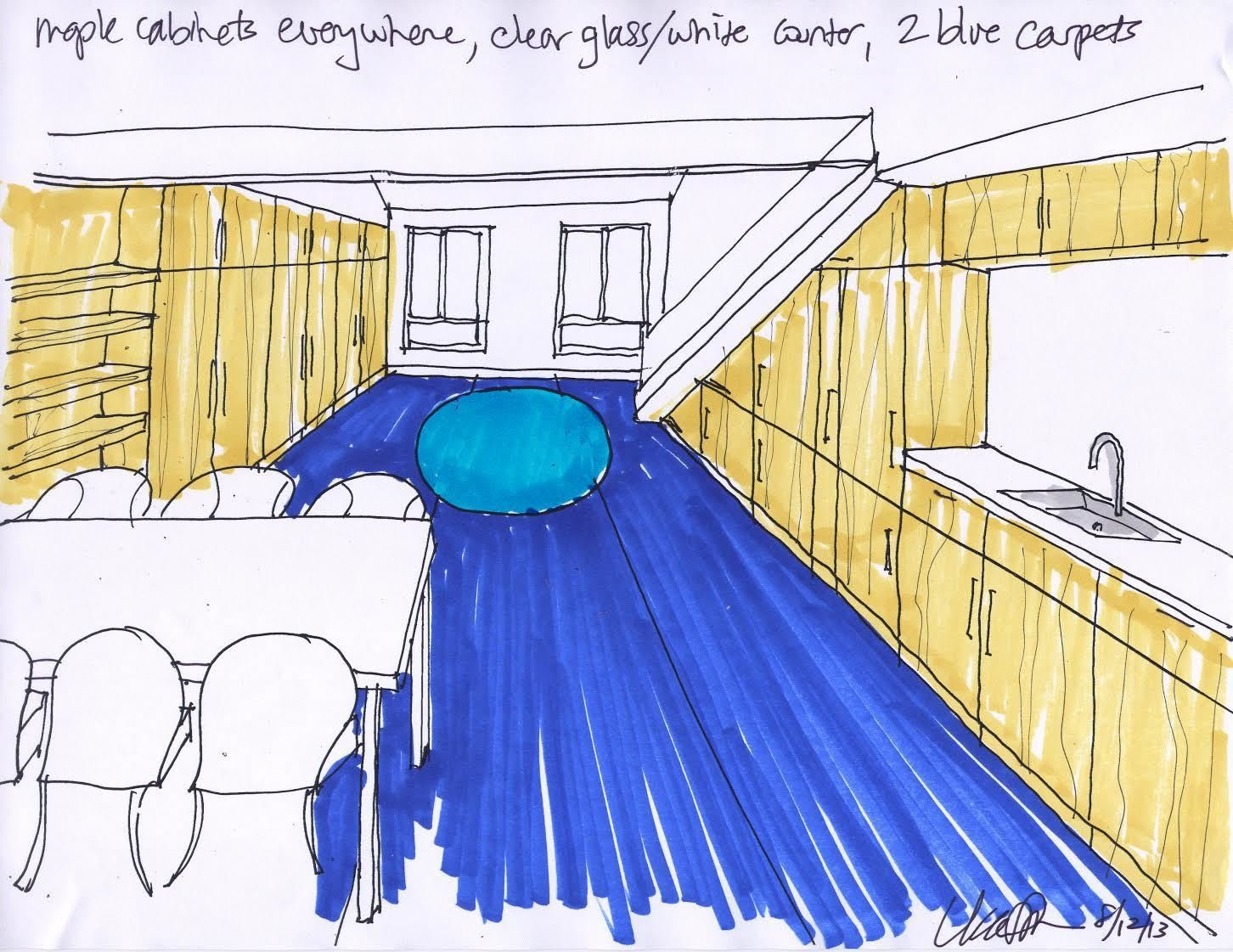 Shown here is a sketch that Simon created at the beginning stages of the project. It shows how she planned to combine the living, dining, and kitchen areas into one long and lean space.  Photo 3 of 10 in Bright Colors and Sleek White Oak Fill This Playful Lake Tahoe Loft