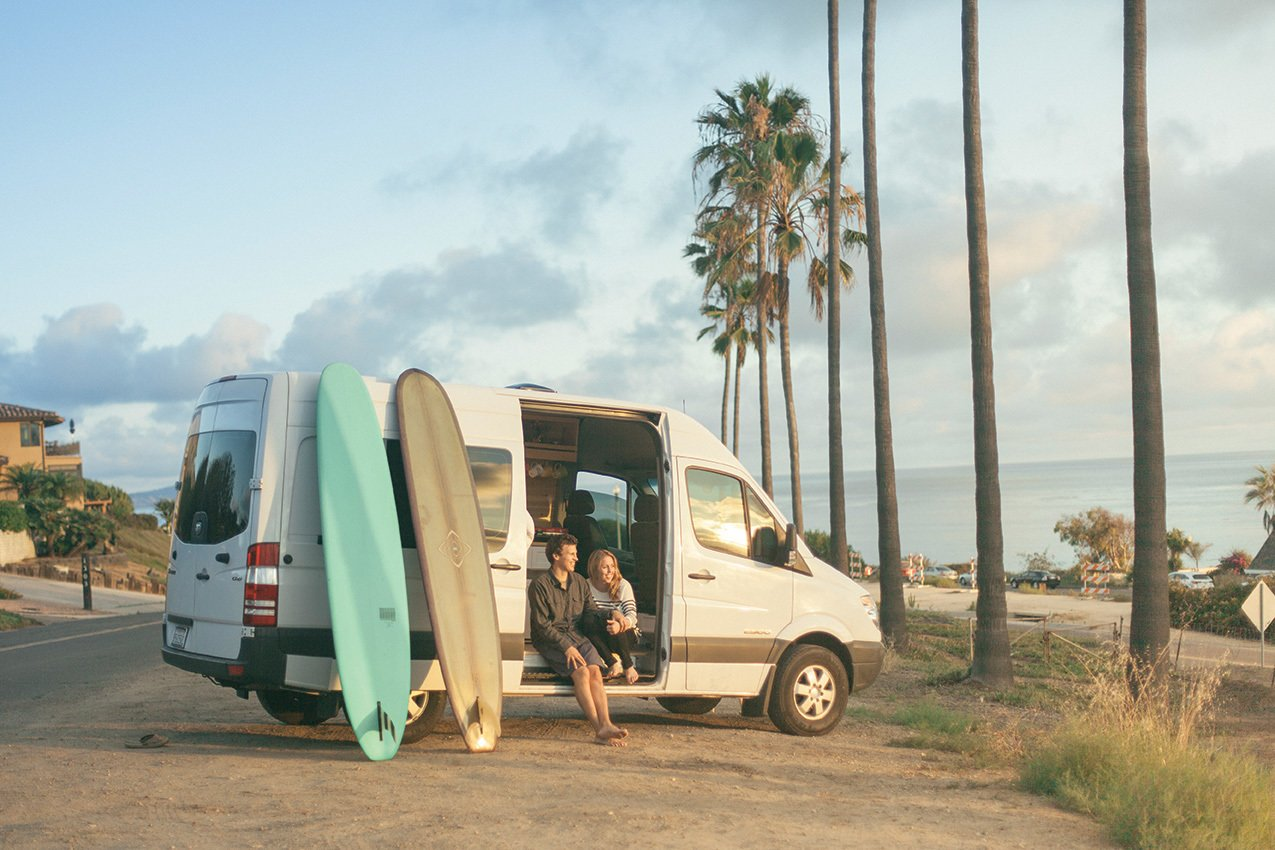 Janna Irons (a writer, brand strategist, and member of the royal Irons family) and Johnny Stifter (a writer, editor, and producer) recently dropped everything, downsized, and kicked off a cross-country adventure in a newly-converted Dodge Springer van.  Photo 7 of 11 in Indoek's New Book Shares a Glimpse Into the Homes of Creative Surfers
