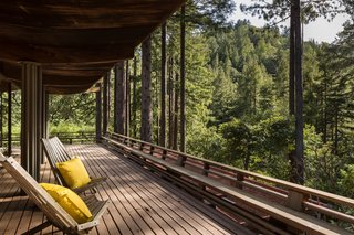 """The house sits on 1.25 acres of land and has a deck that connects the interiors with the outdoors throughout the property. Little points out, """"Some of the old-growth redwood he used has up to 25 growth rings in a single inch!"""""""