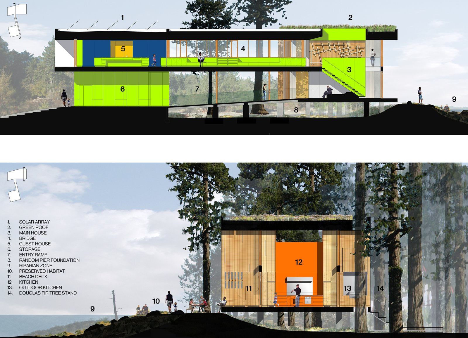 The dwelling acts as two organically interconnected frames, one mineral and one of wood which float above a virtually undisturbed site between one of the world's richest marine tidal ecosystems in the northeast - a wetland preserve to the southwest. The two buildings hover over the site connected by a hald enclosed bridge   #rendering #sections #beachhouse #interstice #intersticearchitects.com #nature   TreeHugger