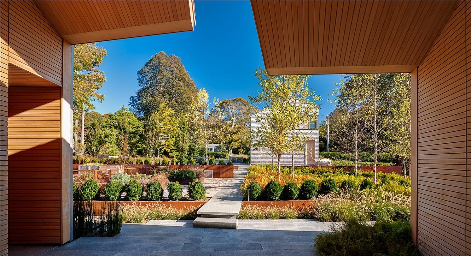 """#CoveHouse #exterior #outdoor #outside #walkway #modern #landscape #wood #panels   #details #angles #plants #trees #Massachusetts #LSSinterios #LeroyStreetStudio   All the """"Right"""" Angles from Cove House"""
