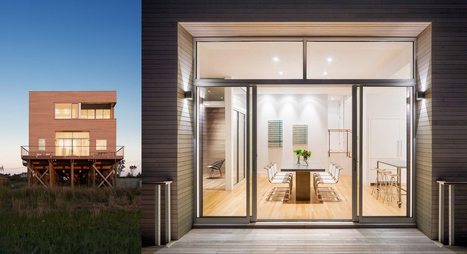 #CubeHouse #interior #exterior #wood #panels #deck #table #chairs #dining #seating #lighting #doors #modern #midcentury #Westhamptonbeach #NewYork #LeroyStreetStudio   Cube House