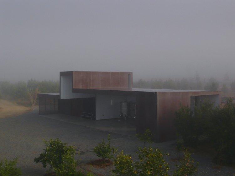 #SebastianMariscal #exterior #landscape #steel #fog   Vinicola Esere by Sebastian Mariscal Studio