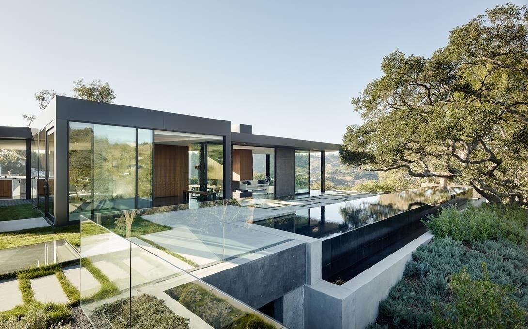 #WalkerWorkshop #exterior #outside #outdoor #landscape #window #pool #concrete  Oak Pass Main House