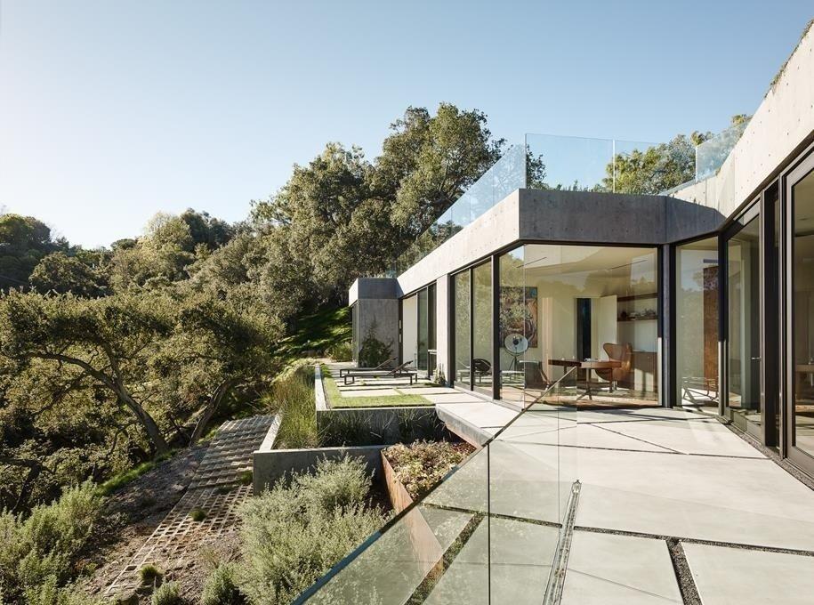 #WalkerWorkshop #exterior #outside #outdoor #landscape #concrete #window   Oak Pass Main House