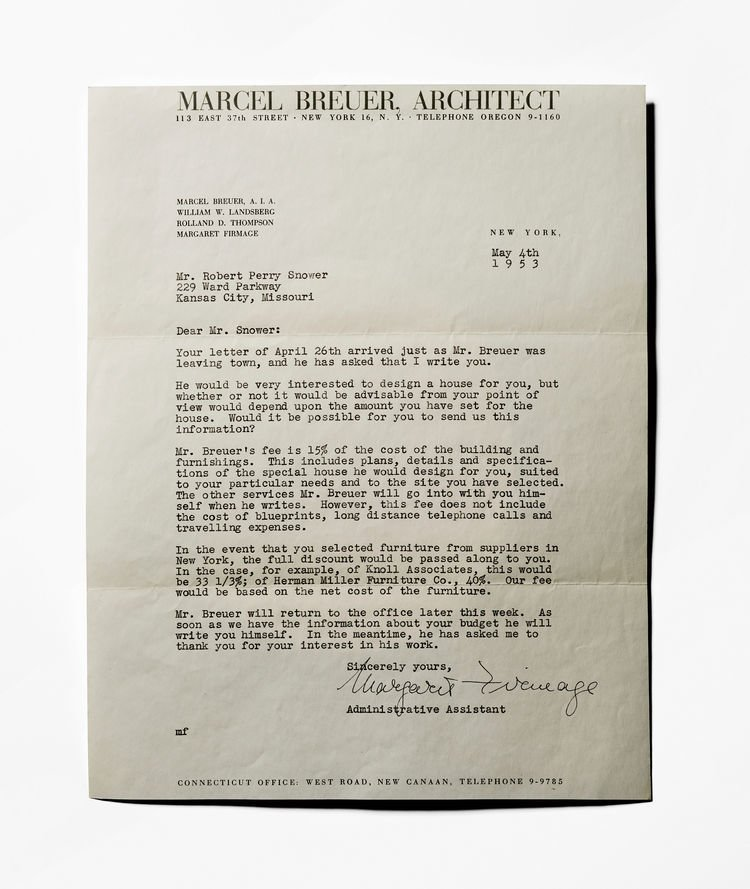 For the dream homes issue, it seemed fitting to end with a letter from Marcel Breuer to potential clients—detailing every expense, and I assume, to manage expectations.   May 2016 / Dream Homes
