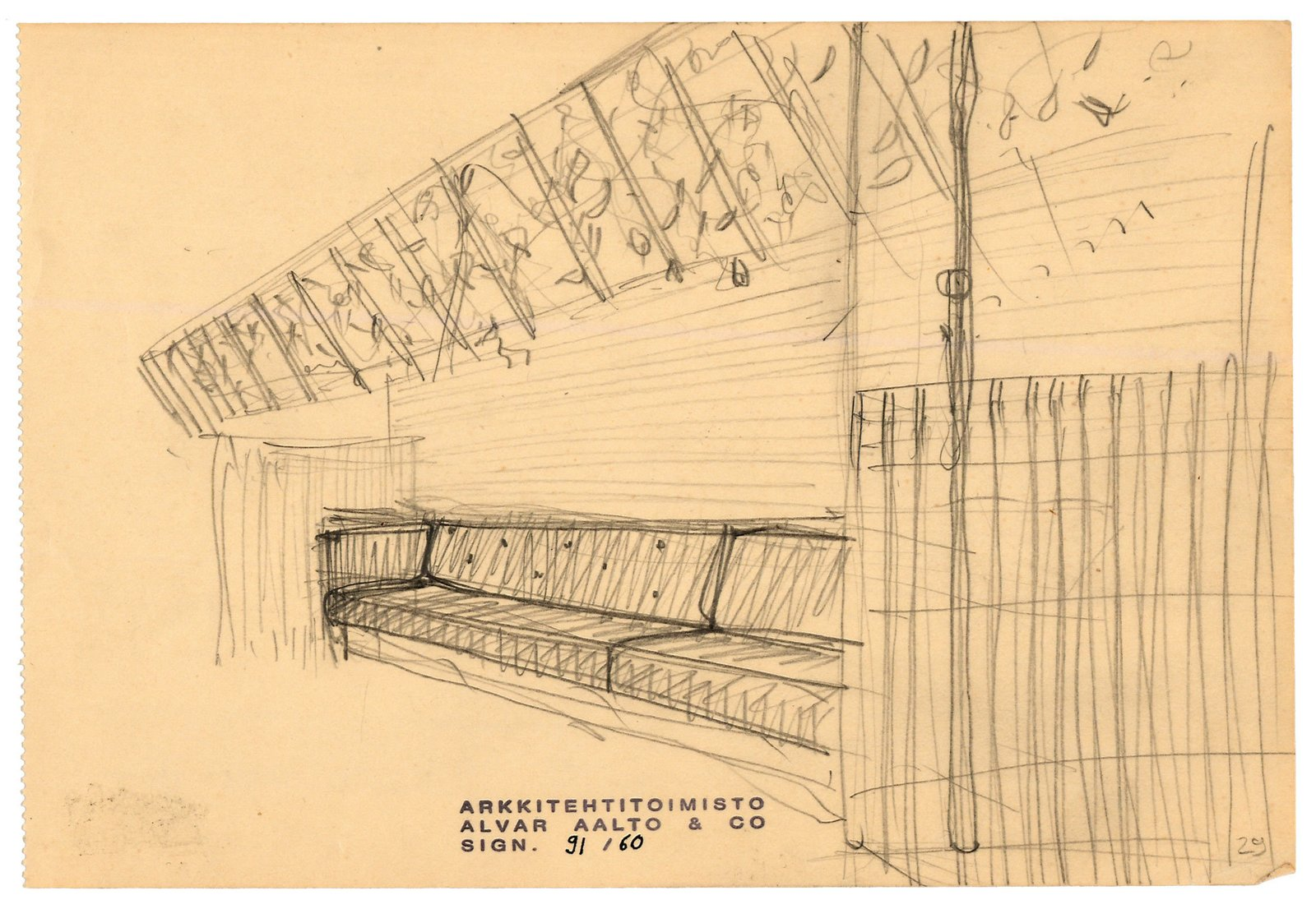 Drawing by Alvar Aalto of his 1937 restaurant in Helsinki, Restaurant Savoy, which he created alongside his wife, Aino Marsio-Aalto. The walls and ceiling are covered in birch veneer; the pair designed all of the furnishings and many of the table pieces.   Square Meal