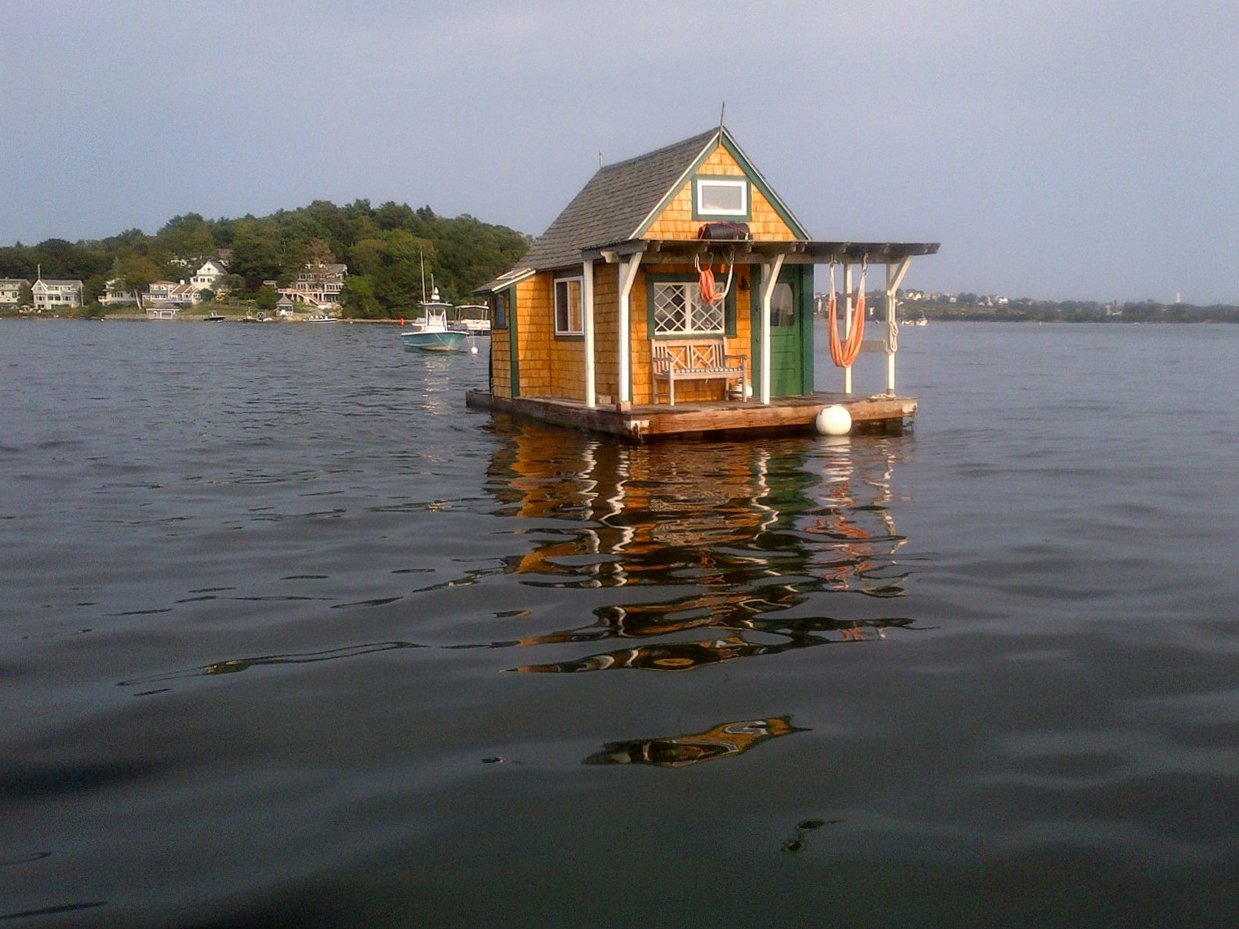 Floating cabin in Gloucester, Massachusetts.   Cabin