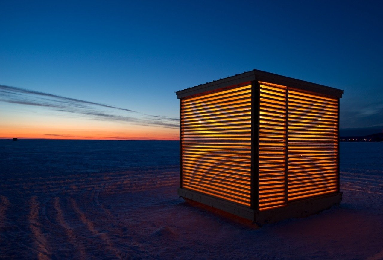 Ice hut installation project in Northern Ontario, Canada.  Cabin