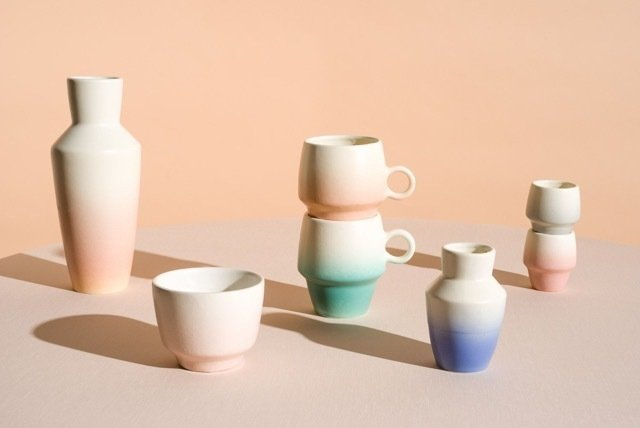 Pax Ceramics, a Venice-based homeware brand founded by Mia Herron Kantor, debuts with an airbrush-coated collection of ceramics—an ode to California's unmatched sunrises and sunsets—called The Breakfast Club.  Hand-thrown and Glazed