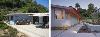 """Located in the Pacific Palisades, the original structure (left) had been virtually untouched for over 40 years; architect Kevin Southerland recently renovated it with an eye for preserving its """"good bones"""" and gently updating it with eco-friendly materials. A new layer of painted cement board (right) now coats the exterior, lending it long-term durability and resistance to decay."""