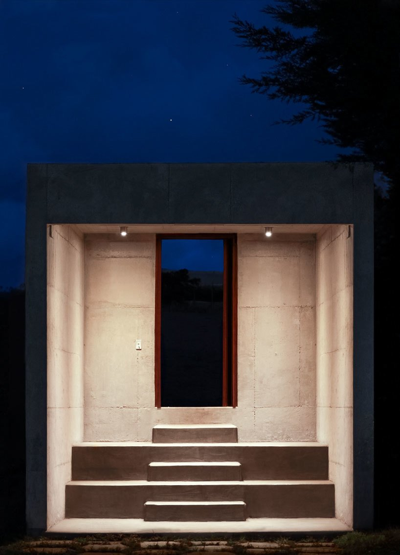 Detached from the main structure, a stepped entryway leads into the property.  Photo 5 of 6 in With a View of the Andes, This Concrete Retreat in Ecuador Follows the Sun