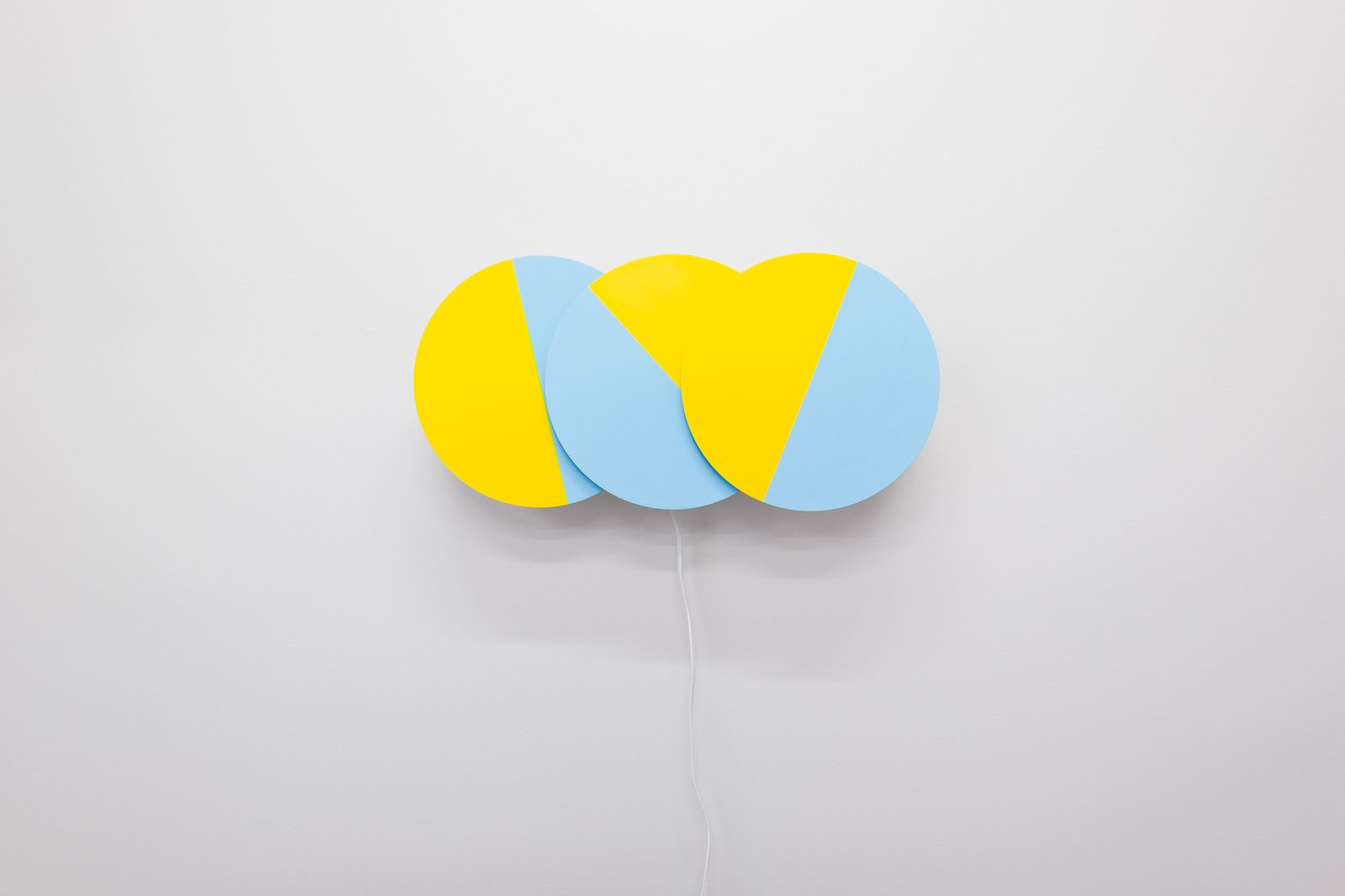 Karel Martens, Three Times (in Blue and Yellow), 2016. Painted aluminum, acrylic, 3D printed components, electronic timers, motors. 40x12x6 inches. Edition of 10.  Photo 3 of 5 in Dutch Graphic Design Master Karel Martens Opens His First Solo U.S. Exhibition