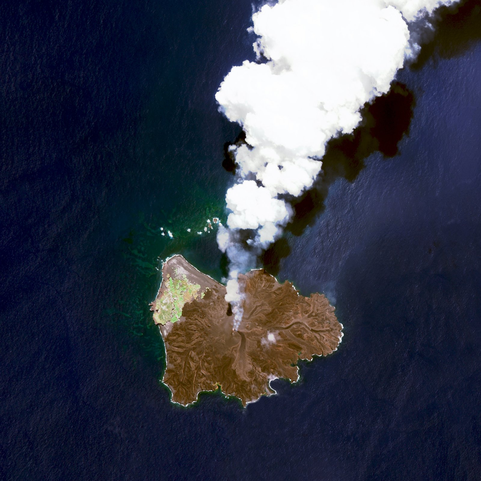 A volcanic island located 584 miles south of Tokyo, Japan, Nishinoshima began to erupt in November 2013, and continued through August 2015.  Reprinted with permission from Overview by Benjamin Grant, copyright (c) 2016. Published by Amphoto Books, a division of Penguin Random House, Inc.   Images (c) 2016 by DigitalGlobe, Inc.   Ever Wondered About the View from Space?