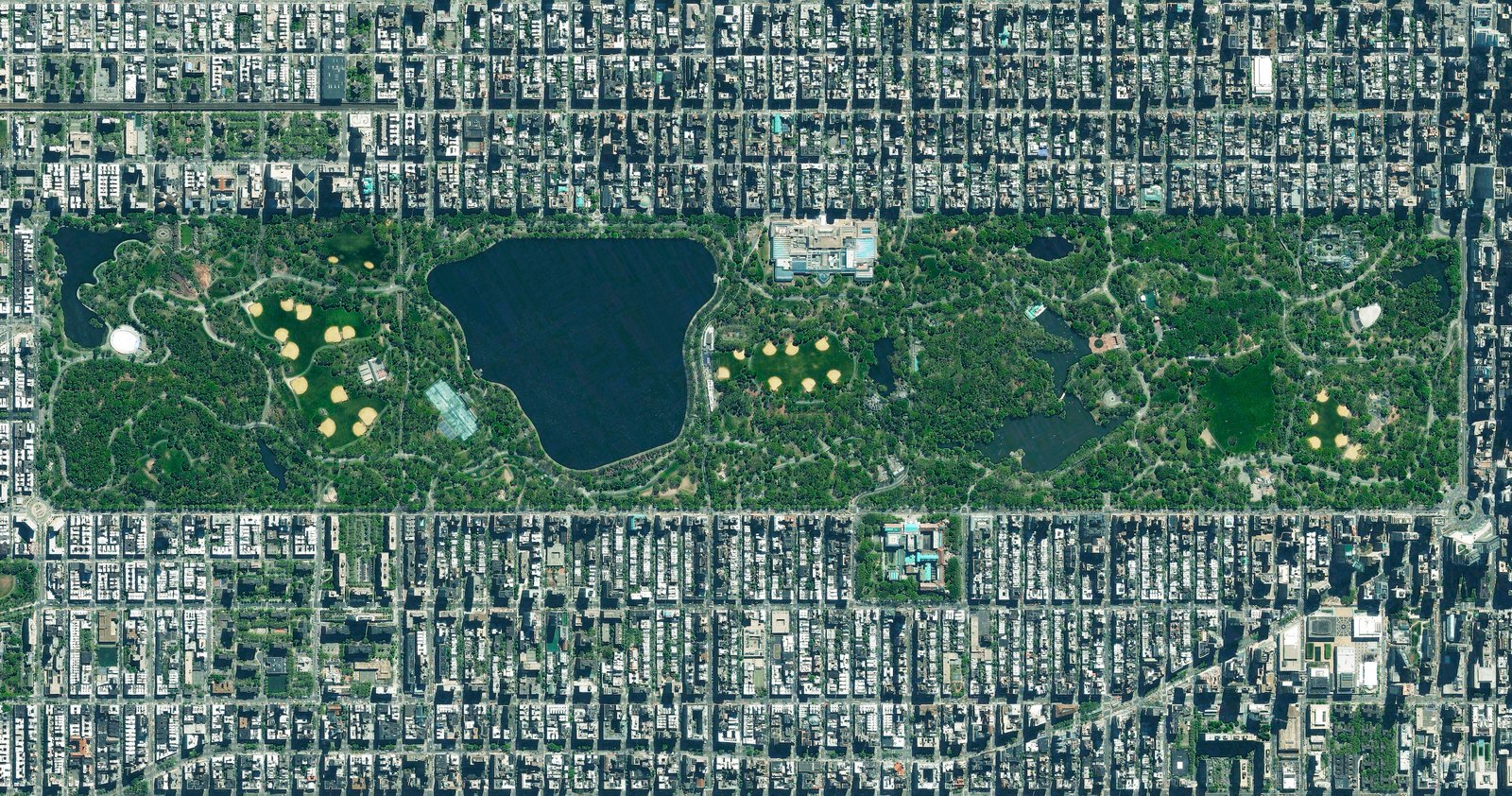 Neatly delineated into as grid of streets, Manhattan's Central Park appears to comprise more than its actual footprint of just 6% of the island borough. Reprinted with permission from Overview by Benjamin Grant, copyright (c) 2016. Published by Amphoto Books, a division of Penguin Random House, Inc.   Images (c) 2016 by DigitalGlobe, Inc.   Ever Wondered About the View from Space?