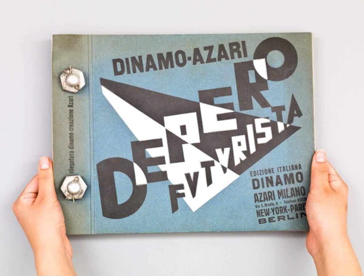 """Designers & Books , MART, and the Center for Italian Modern Art are campaigning on Kickstarter to bring this iconic 1927 tome by Italian Futurist designer and architect Fortunato Depero back into print—including the aluminum bolt binding that earned it the popular nickname, """"The Bolted Book.""""  Read more about it here: https://www.kickstarter.com/projects/1204158310/the-bolted-book-facsimile-an-exact-copy-of-depero  Graphic Design and Illustration"""