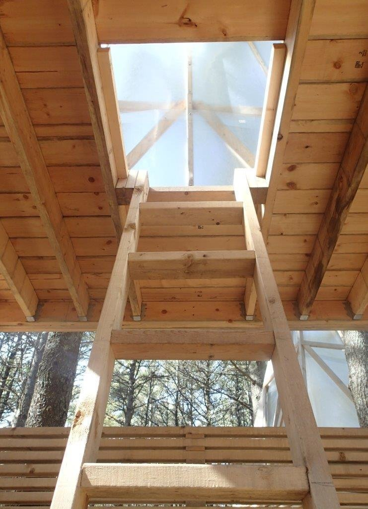 The students worked with a simple palette of materials: 2x framing material, galvanized connectors, translucent fiberglass, and materials gathered on site.  Photo 4 of 5 in Shop Class Rebooted: Students Built This Woodland Retreat