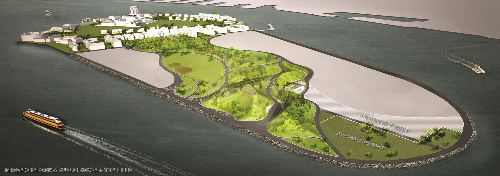 A rendering shows the 30 acres of developed areas on the island including the paths and picnic areas of Phase 1 and the 10-acre site of The Hills.  Photo 6 of 6 in New York's Newest Park Sits on Recycled Demolition Debris