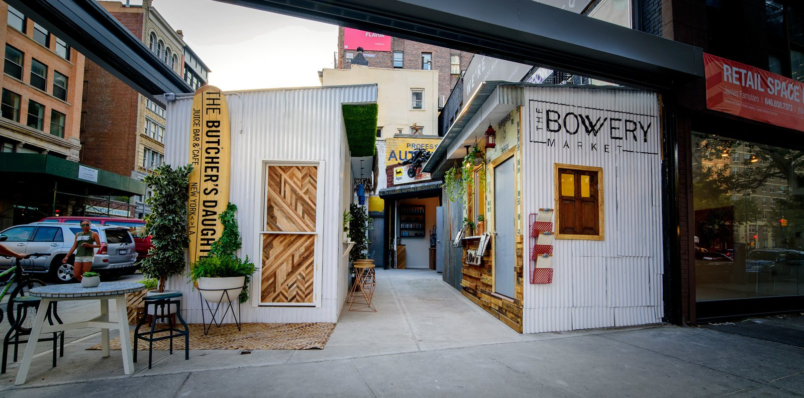 Five  food stalls now occupy the site of a former auto body shop on the Bowery in Manhattan's NoHo neighborhood.  Photo by Ken Moore  CAFE Idea from New York's Newest Food Hall Fits in Just 1,000 Square Feet