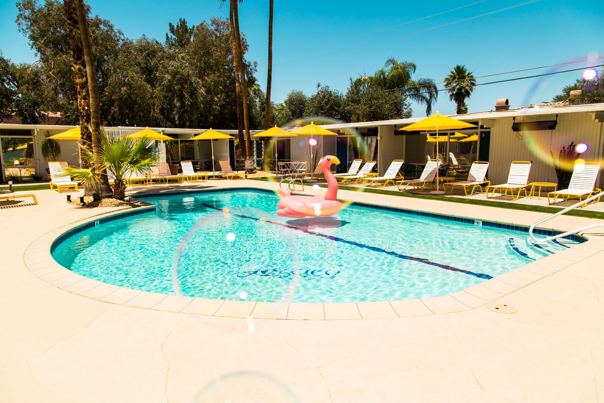 Outdoor, Swimming Pools, Tubs, Shower, Concrete Patio, Porch, Deck, Back Yard, and Walkways The new pool area.  The Monkey Tree Hotel from This Palm Springs Hotel is Filled with Vintage Midcentury Modern Finds