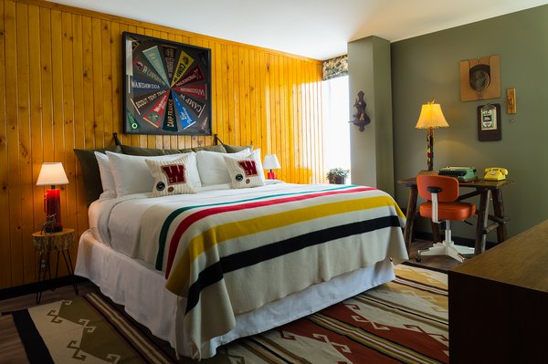 "The idea for the custom room comes from Camp Wandawega's line for Land of Nod, which celebrates the whimsical vintage aesthetic of the retreat. A former Prohibition speakeasy once called ""a disgrace to the great state of Wisconsin,"" Wandawega has come a long way over the years—the 91-year-old camp site is now a boutique lakeside getaway celebrating the simple pleasures of the great outdoors."