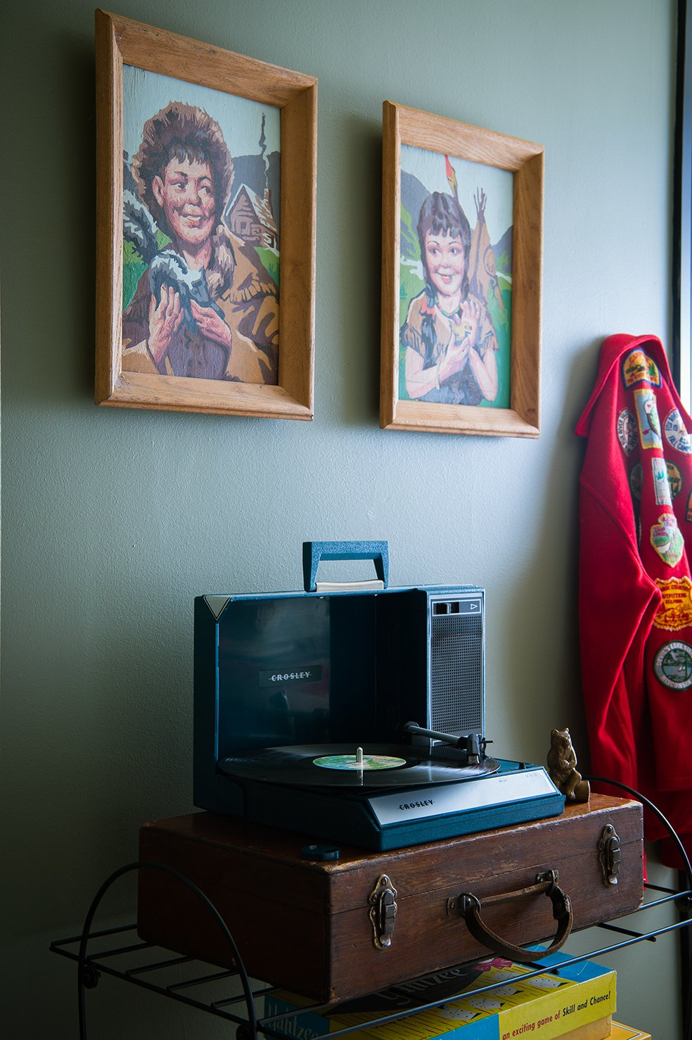 Bedroom and Shelves The room comes complete with a selection of retro-Americana music.  Graduate Madison from This Wisconsin Hotel Suite Conjures the Best of Summer Camp—Hold the Bug Spray