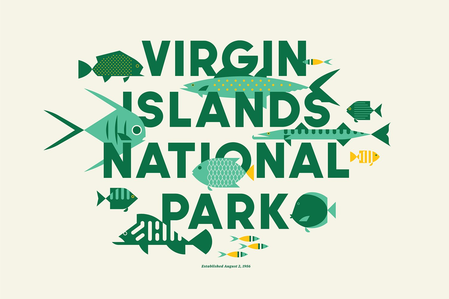 Virgin Islands National Park designed by Jay Fletcher  With Type Hike, 59 Graphic Designers Celebrate the National Park Service Centennial