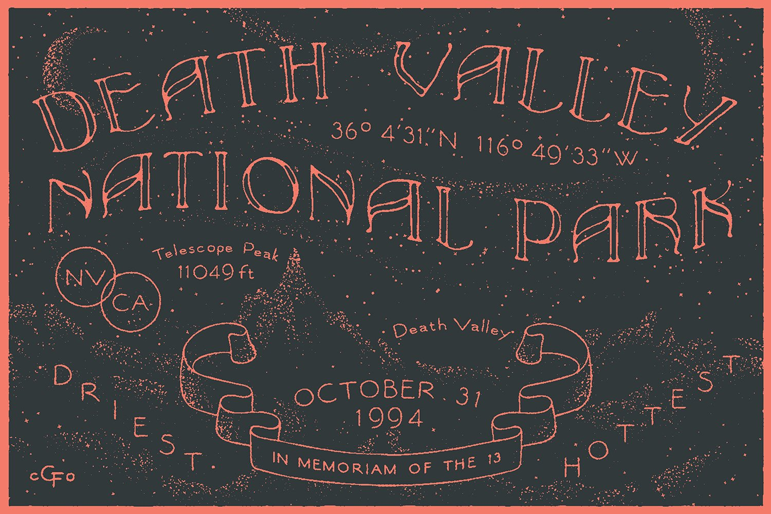Death Valley National Park designed by The Good Folks Co.  With Type Hike, 59 Graphic Designers Celebrate the National Park Service Centennial