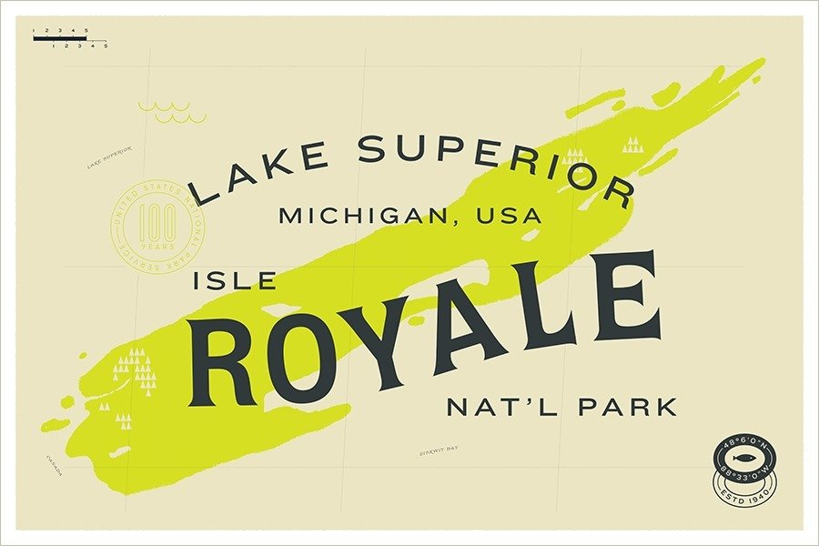 Isle Royale National Park designed by Fuzzco  With Type Hike, 59 Graphic Designers Celebrate the National Park Service Centennial