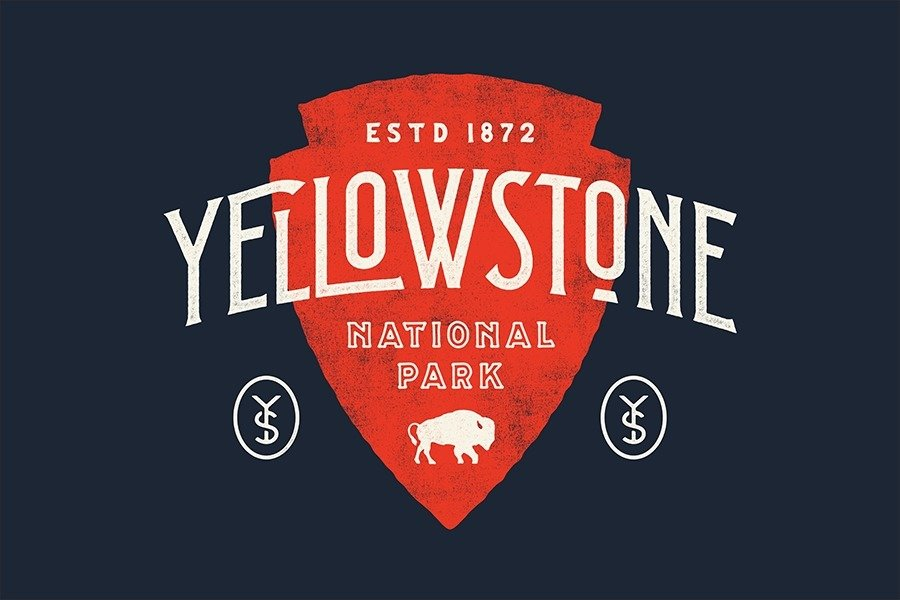 Yellowstone National Park designed by Nicolas Fredrickson  With Type Hike, 59 Graphic Designers Celebrate the National Park Service Centennial