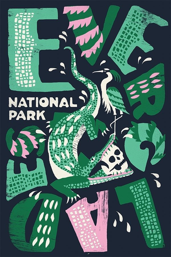 Everglades National Park by Joshua Noom  With Type Hike, 59 Graphic Designers Celebrate the National Park Service Centennial