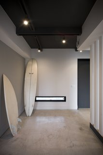The family's love of surfing was a main inspiration for the space. It is designed to be a relaxing getaway with few distractions from the sea and surrounding nature.