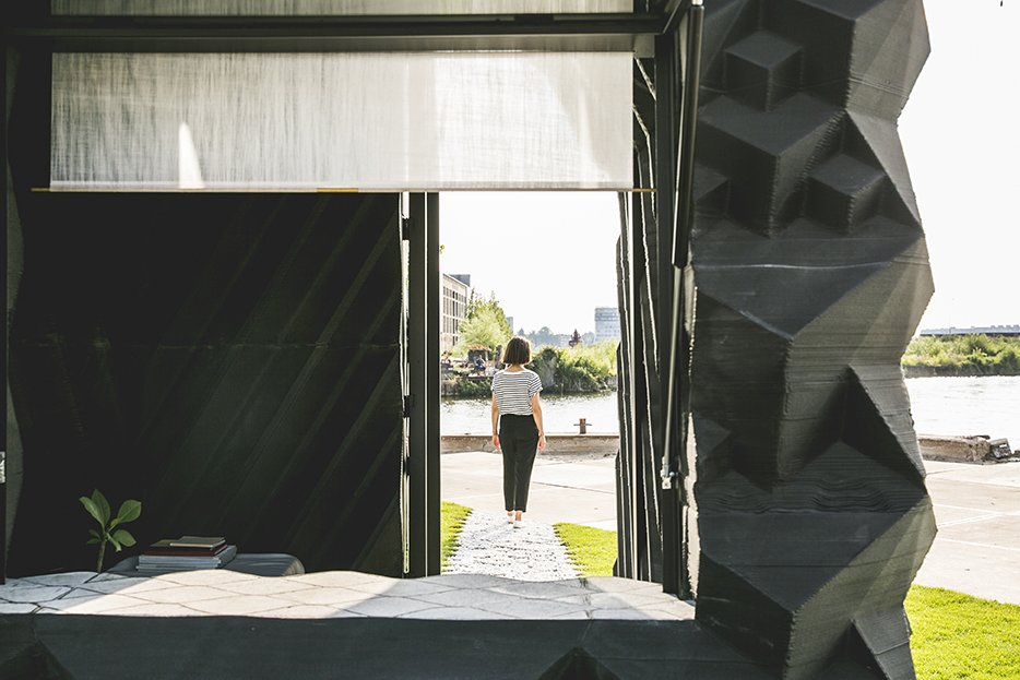 The Urban Cabin is a research project for DUS's larger-scale investigations into 3D-printed architecture. It is made almost completely of a bio-plastic that can be shredded and printed into new objects at the end of its lifecycle.   Photo: Sophia van den Hoek  Photo 14 of 19 in Stay in This 3D-Printed Tiny House from Book a Stay in This 3D-Printed Tiny House