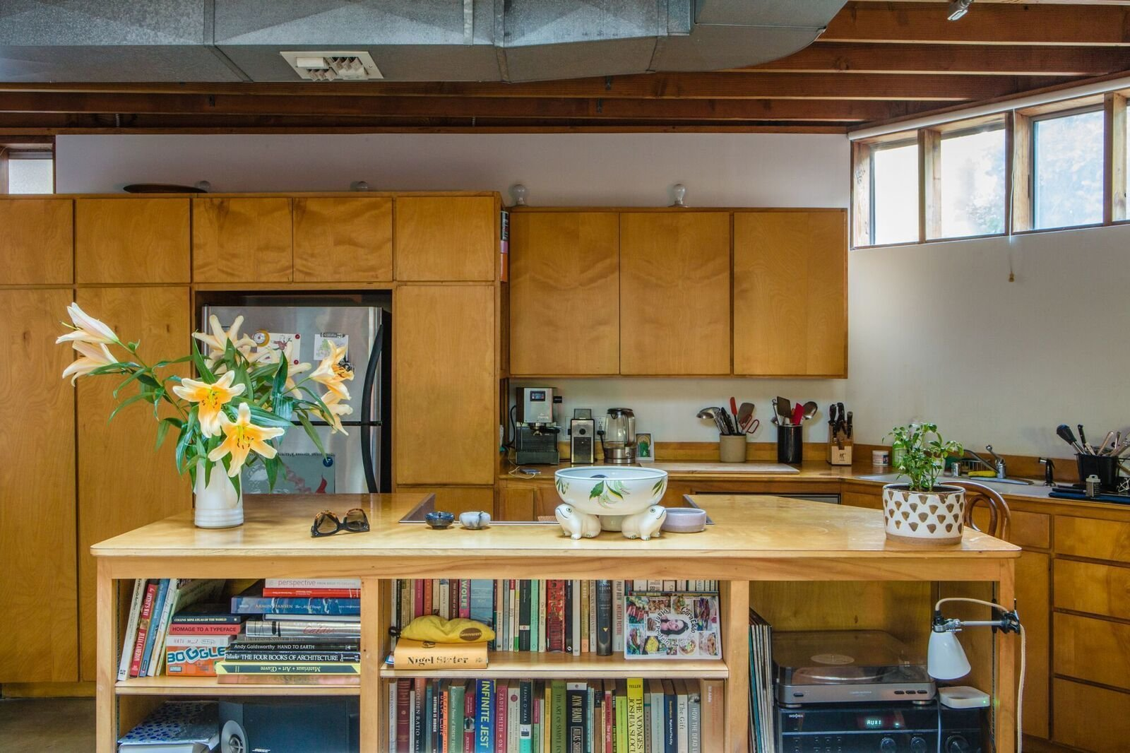 The house is made of simple off-the-shelf materials. The beams are standard two-by-fours and the floors on the first level are polished concrete.   Photo 4 of 12 in Peek Inside the Frank Gehry Rental of an Emerging L.A. Furniture Designer