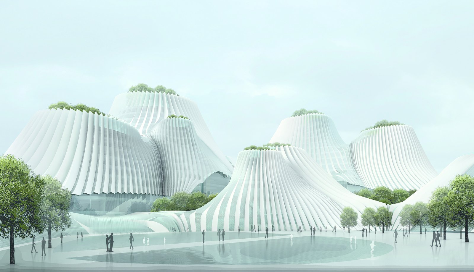 Completed in 2009, Taiwan's Taichung Convention Center, by MAD Architects, appears almost like a natural feature of the topography. Though mountains and valleys inspired its form, the building is a feat of technology: The building is clad in a pleated-skin system that provides air to the building while minimizing energy consumption and using solar energy.   Picture courtesy of MAD Architects  Discover the Fantastical Future Vision of a Beijing Architect