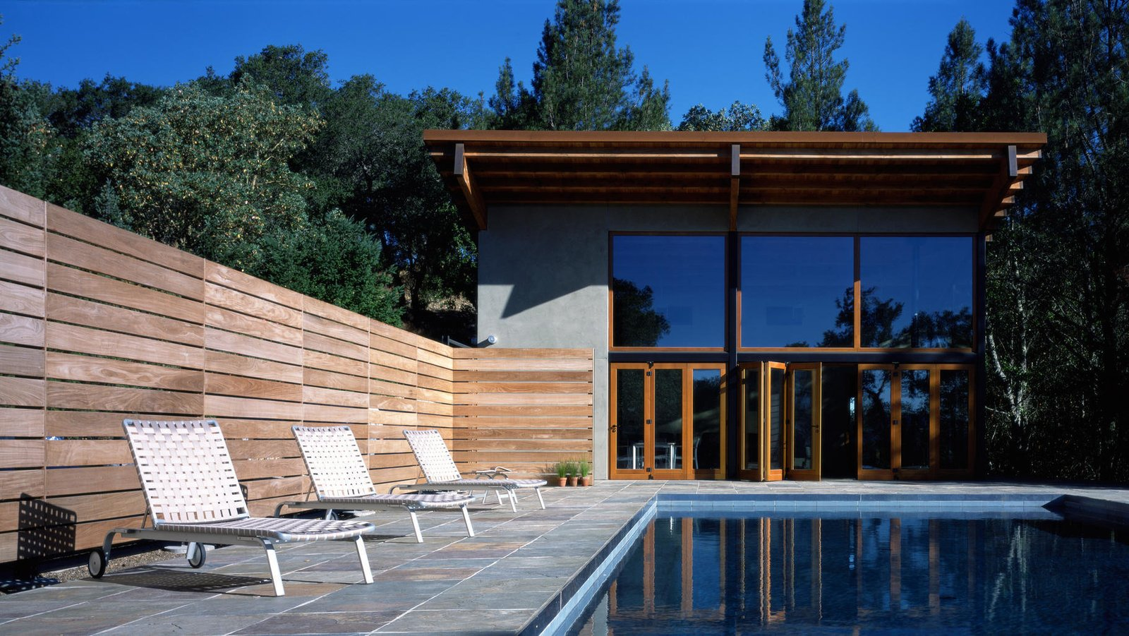 #pool #poolhouse #calistoga #exterior #smallspaces #cantileveredroof #cantilevered #roof #glass #windows  Barnes Pool House
