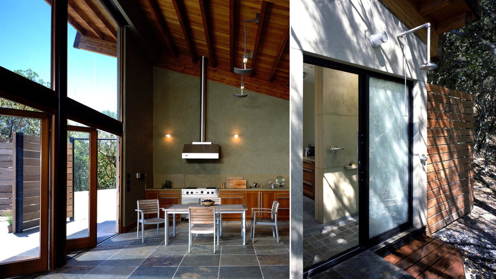 #poolhouse #calistoga #interior #exterior #kitchen #outdoorshower #smallspaces #cantileveredroof #cantilevered #roof  Barnes Pool House
