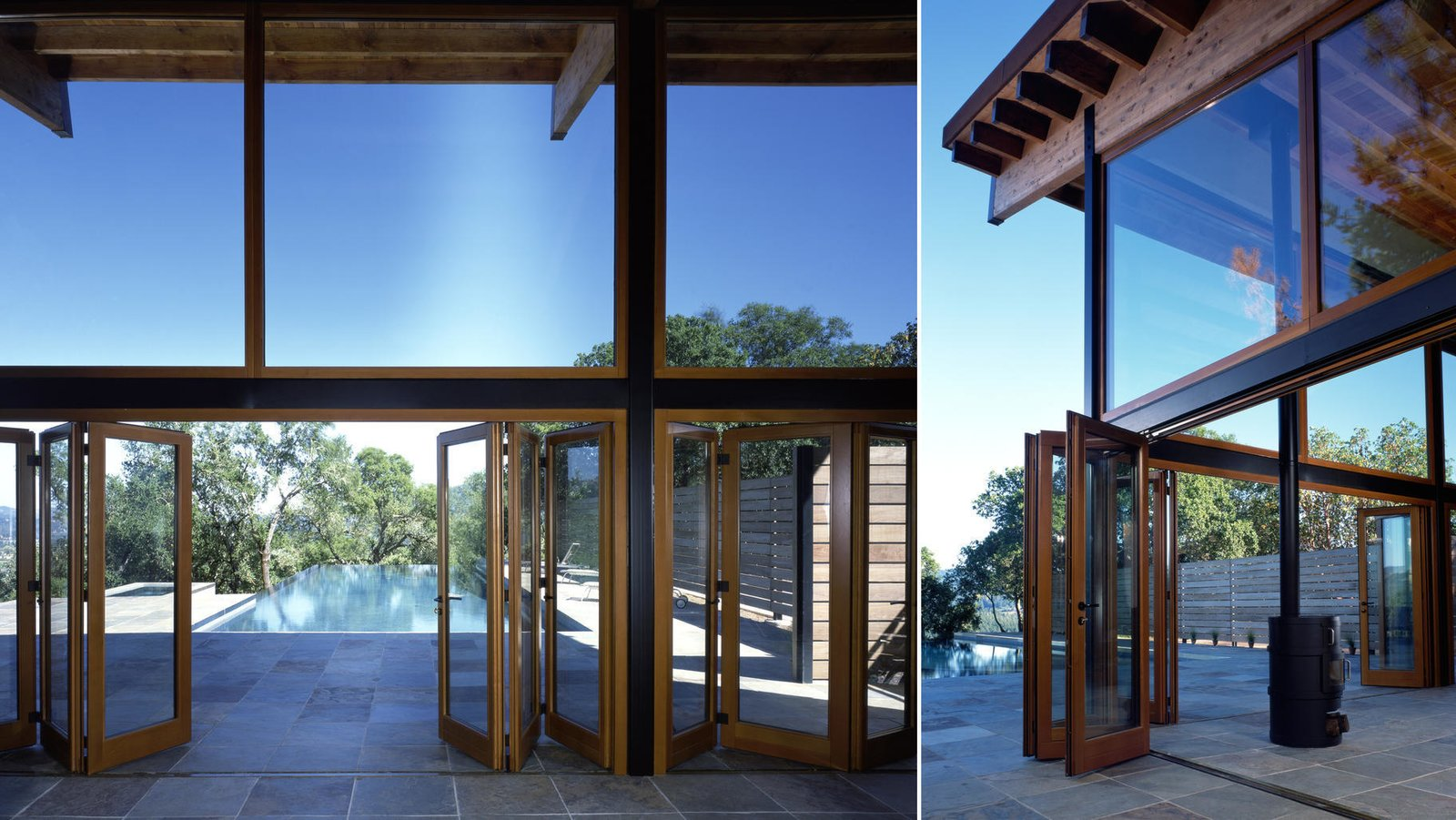 #pool #poolhouse #calistoga #exterior #interior #smallspaces #cantileveredroof #cantilevered #roof #glass #windows  Barnes Pool House